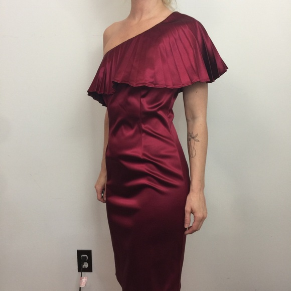 40dc226bcc6 Jay Godfrey NWT Red Satin Wine Pleat Dress